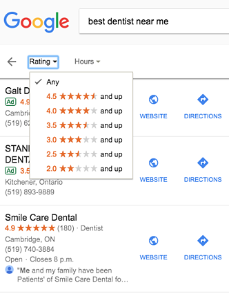 apply filter rating: best dentist near me